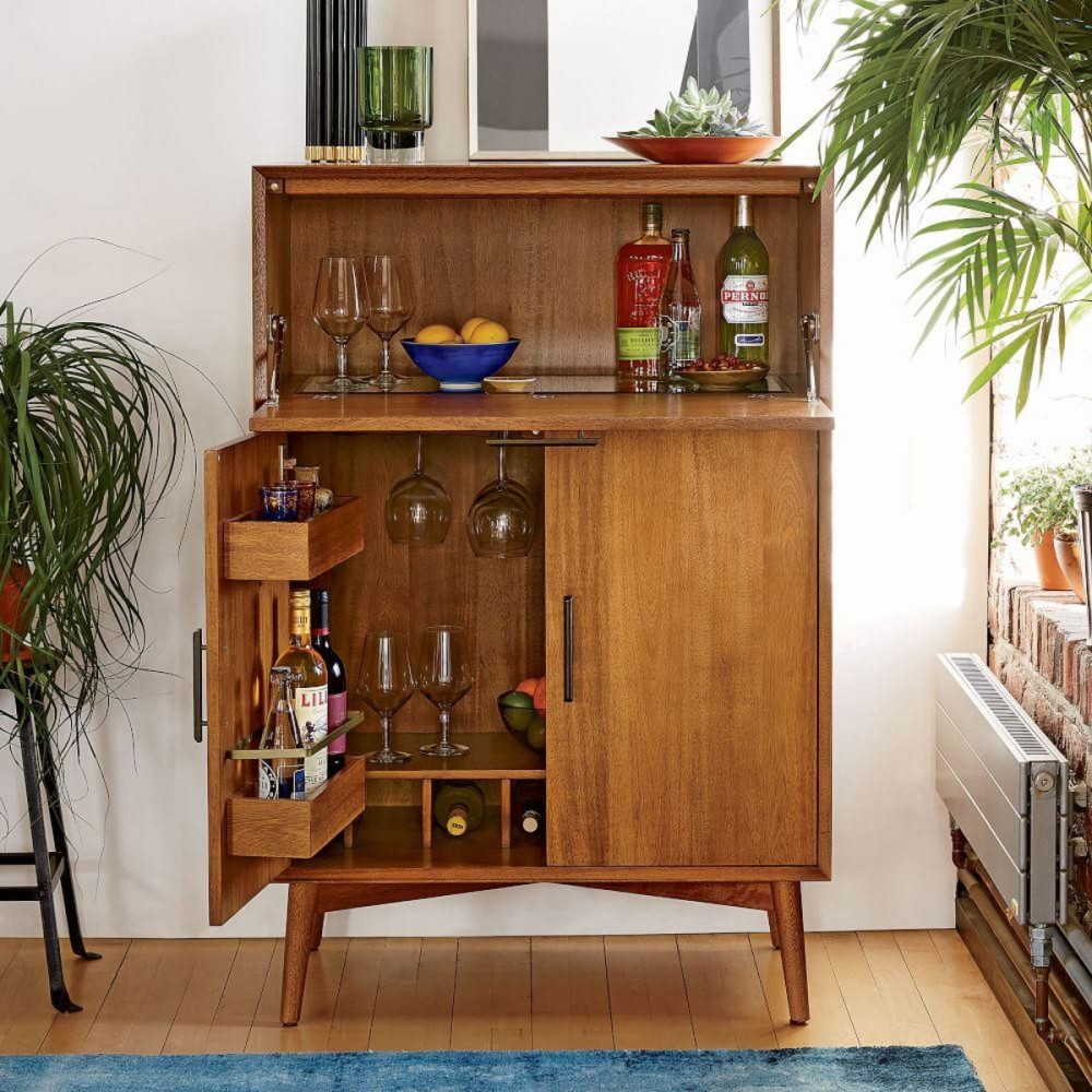 Large Mid Century Bar Cabinet